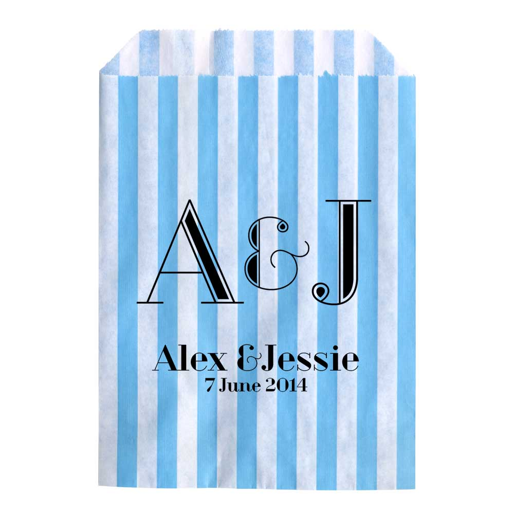 Personalised-Wedding-Sweet-Bags-INITIALS-ART-DECO-Candy-Cart-Wedding-Favours-Con