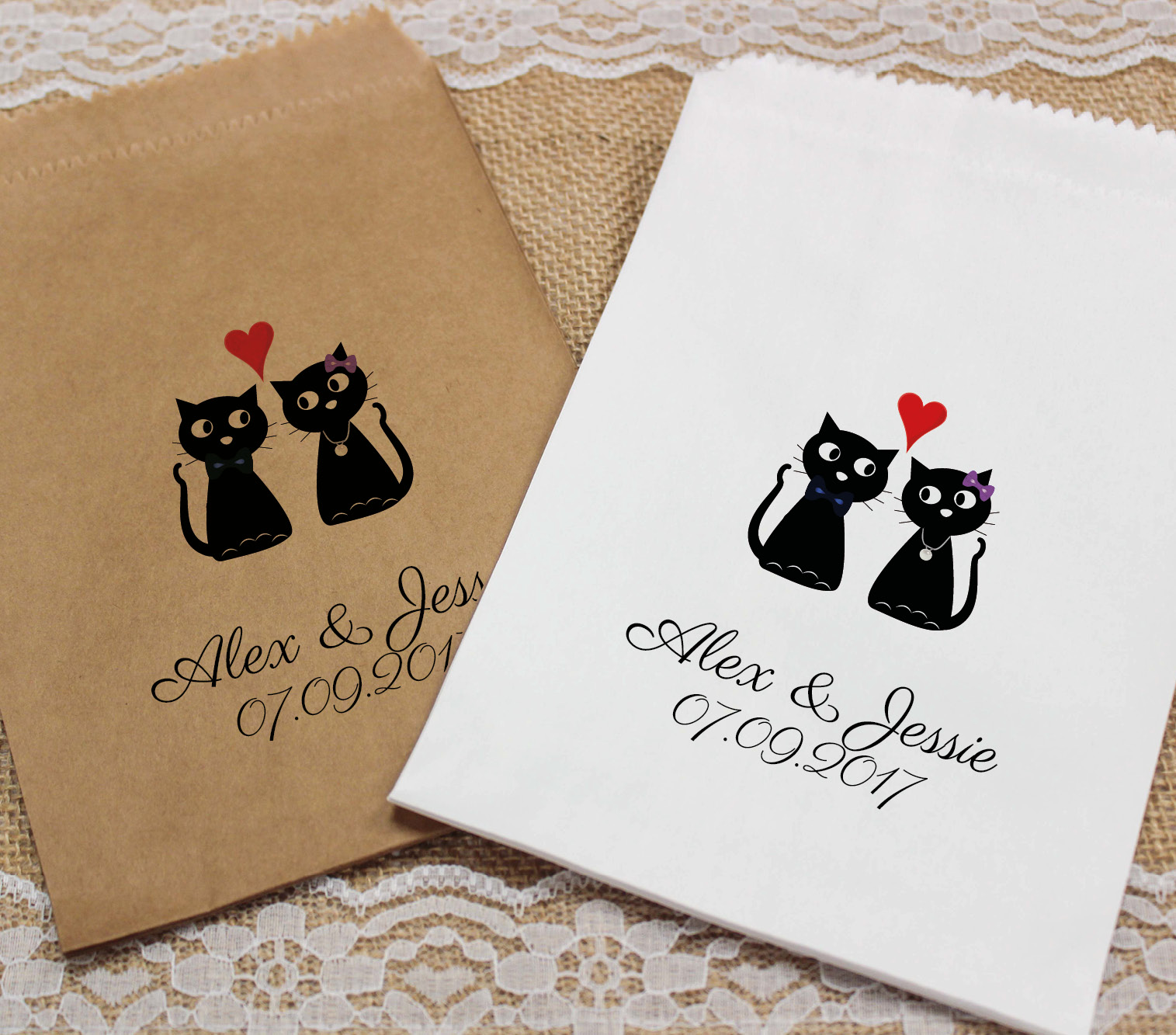 Personalised Wedding Sweet Bags LOVE CATS HEART Candy Cart Wedding ...