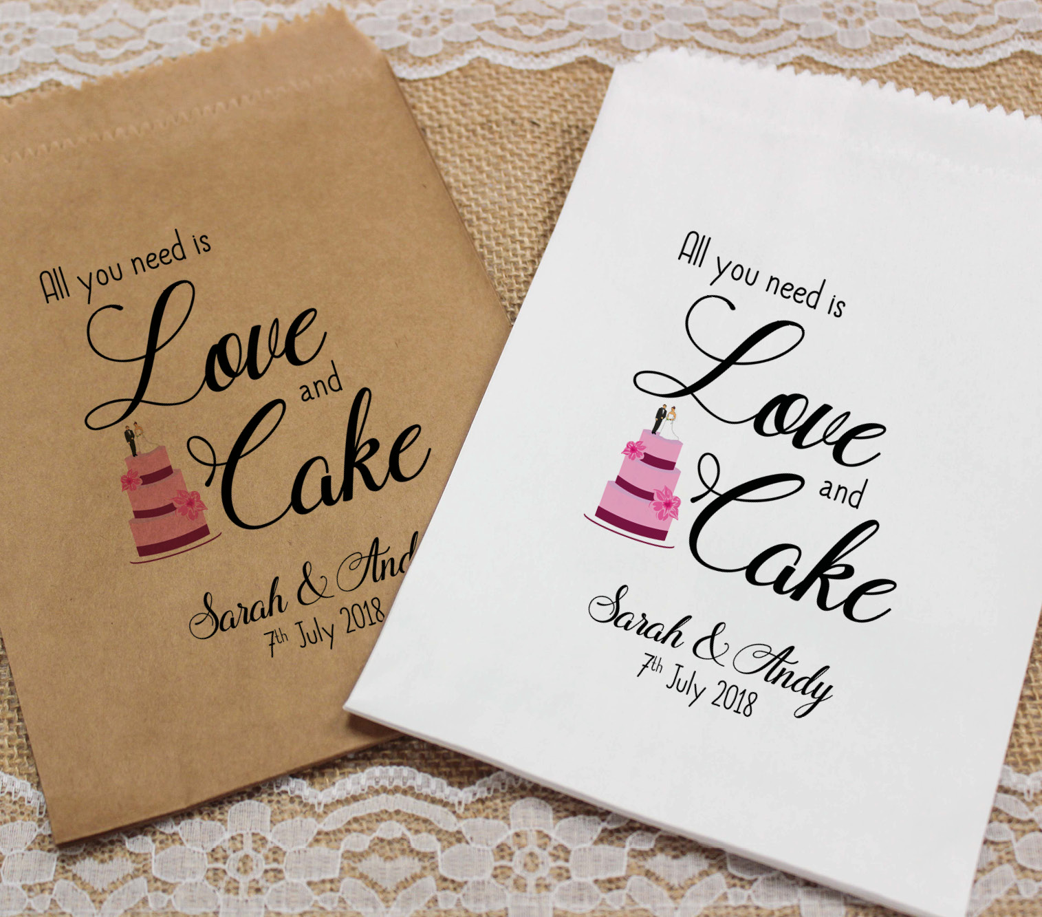 personalised wedding sweet bags wedding cake candy cart wedding favours confetti ebay. Black Bedroom Furniture Sets. Home Design Ideas