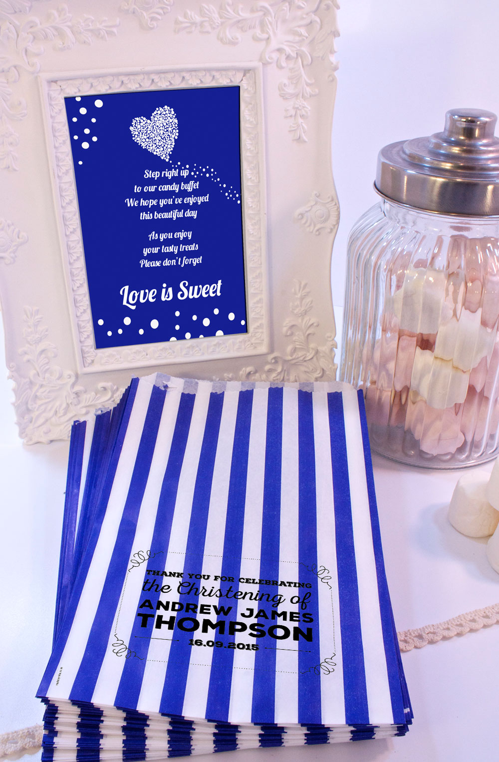 Personalised-Christening-Sweet-Bags-VINTAGE-RETRO-SHABBY-Candy-Cart-Wedding-Favo