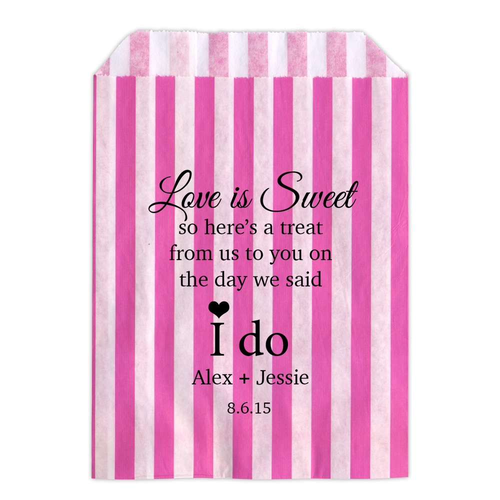 Personalised Wedding Sweet Bags WE SAID I DO LOVE Candy Cart Wedding ...