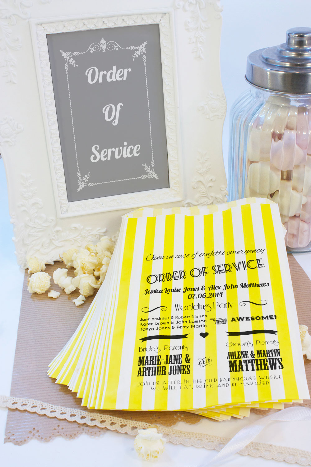 Personalised-Wedding-Sweet-Bags-VINTAGE-ORDER-OF-SERVICE-Candy-Cart-Wedding-Favo