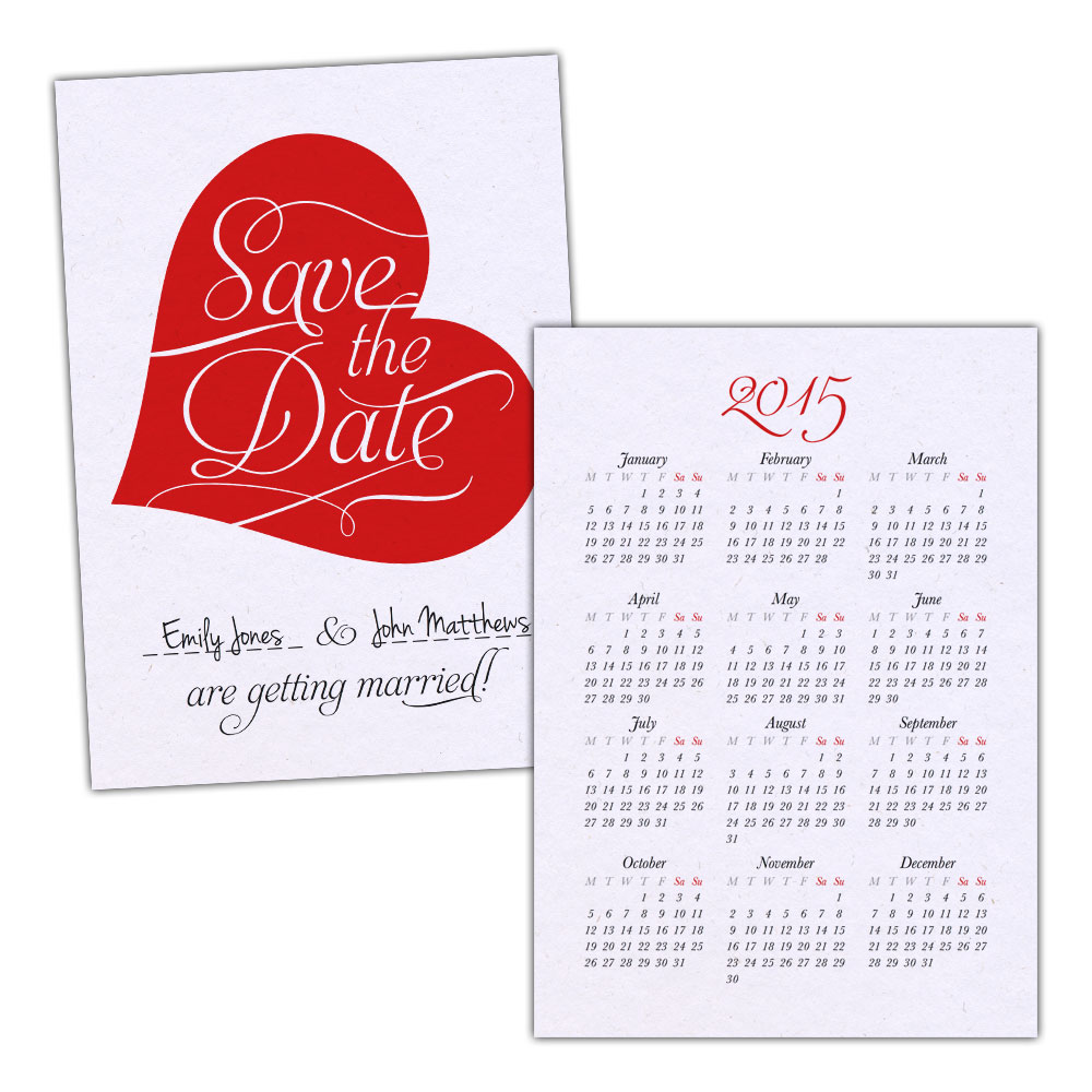 Brown-kraft-Save-the-Date-cards-VINTAGE-CALENDAR-HEART-RED-FREE-ENVELOPES
