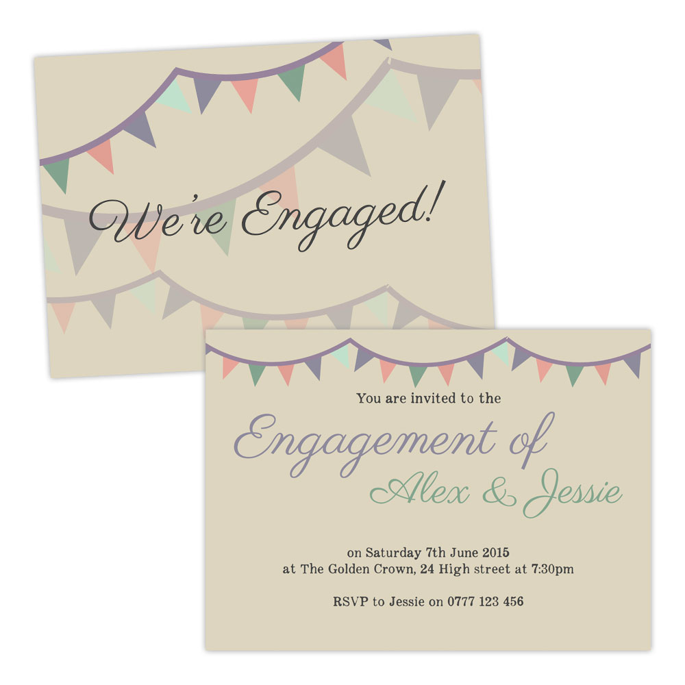 Personalised engagement party invitations PASTEL BUNTING VINTAGE – Personalised Engagement Party Invitations