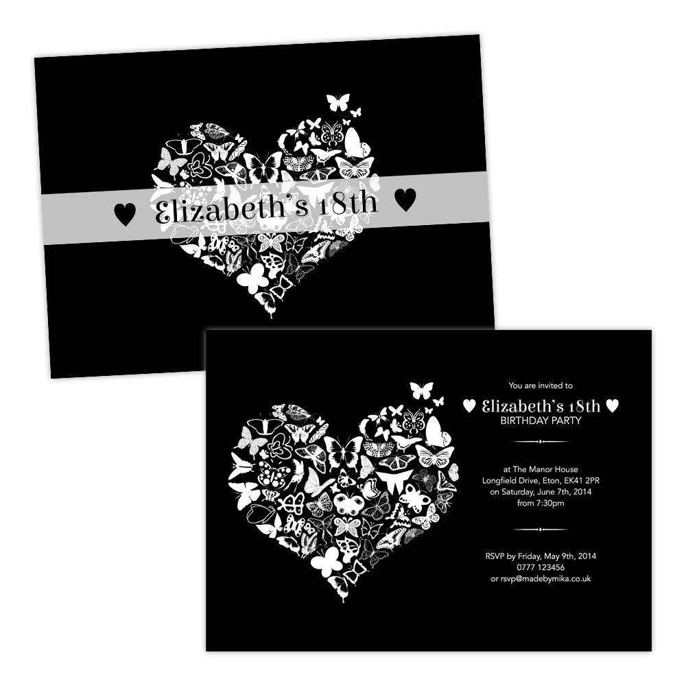 Top Personalised birthday party invitations BUTTERFLY HEART WHITE  UW86